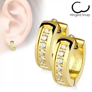 Boucles d'oreille acier dorées IP à encoche strass