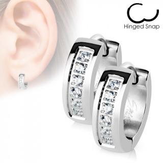 Boucles d'oreille acier à encoche strass