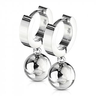 Boucles d'oreille acier inox à pendentif boule (paire)