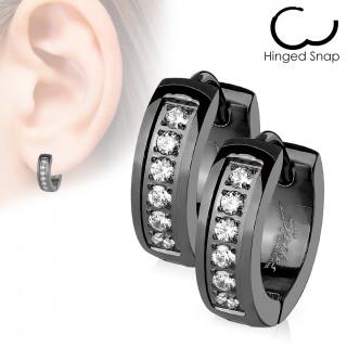 Boucles d'oreille acier noires IP à encoche strass