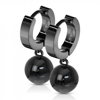 Boucles d'oreille noires acier à pendentif boule (paire)