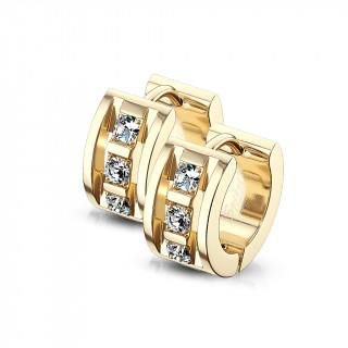 Boucles d'oreille style architectural serties en acier doré (paire)