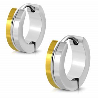 Boucles d'oreilles anneaux en acier doré et gris