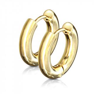 Boucles d'oreilles créoles épaissent dorées en acier (paire)