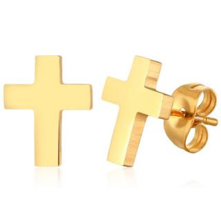 Boucles d'oreilles Croix dorées acier (Paire)