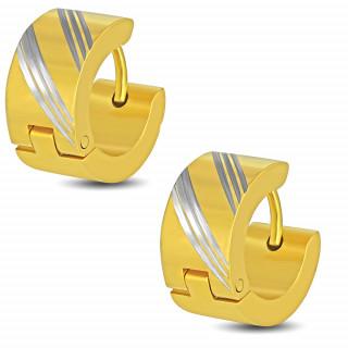 Boucles d'oreilles larges dorées en acier à griffes (Paire)