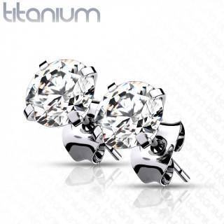 Boucles d'oreilles Titane G23 serties Zirconium