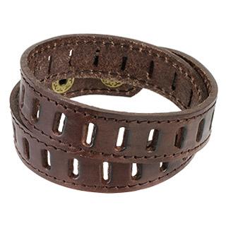 Bracelet à double tour en cuir marron avec encoches