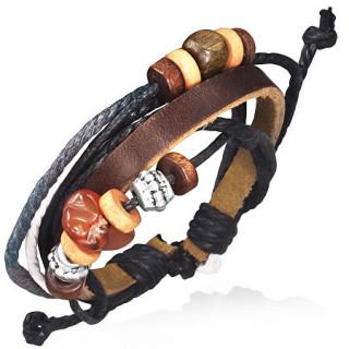 Bracelet à lanière de cuir marron et cordes avec perles de métal, bois et pierre