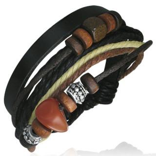 vente bracelet lani re de cuir noir et cordes avec perle de bois m tal et pierre rouge. Black Bedroom Furniture Sets. Home Design Ideas