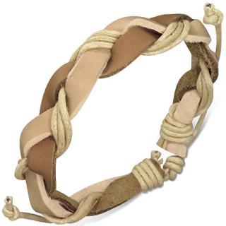 Bracelet à lanières de cuir beige et marron clair entrelacées