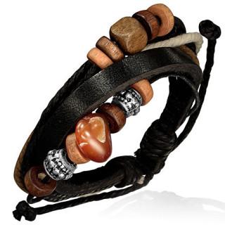 Bracelet à lanières de cuir et cordes noires avec de nombreuses perles