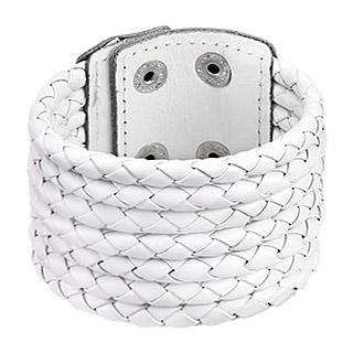 Bracelet à sept tresses de cuir blanc accolées