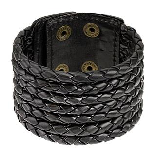 Bracelet à sept tresses de cuir noir accolées