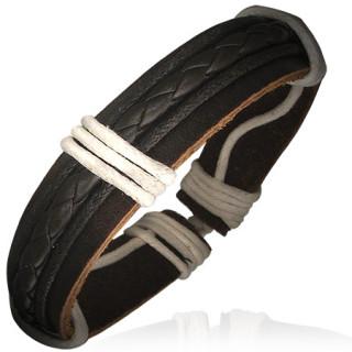 Bracelet avec tresse de cuir et cordes sur bande de cuir marron