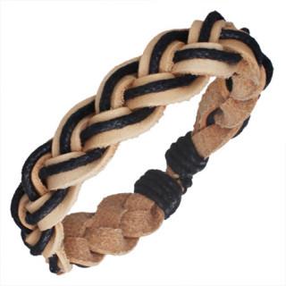 Bracelet avec tresse en cuir beige et corde noire