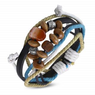 Bracelet cordes et cuir à perle Karma REF-13635