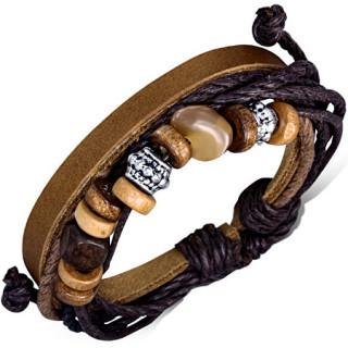 Bracelet de corde noires et cuir cuir kaki avec perles