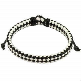Bracelet en cuir à tressage serré noir et blanc