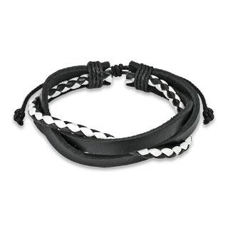 Bracelet en cuir avec lanières et tresse bicolore entrelacés