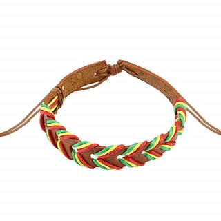 Bracelet en cuir brun clair avec vagues Rasta