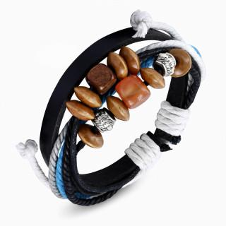 Bracelet en cuir et cordes orné de perles sculptées