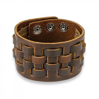 Bracelet en cuir marron aspect usé à lanières croisées en damier