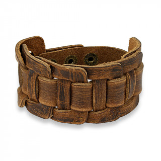 Bracelet en cuir marron d'aspect usé à larges lanières croisées