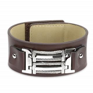 Bracelet en cuir marron et acier avec filins