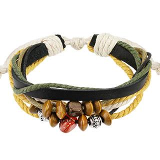 Bracelet en cuir noir avec cordes et perles de bois, pierre et métal
