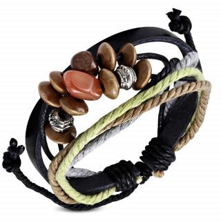 Bracelet en cuir noir et cordes multicolores avec perles diverses