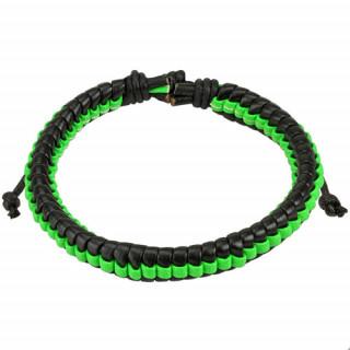 Bracelet en cuir tressé noir et vert fluo