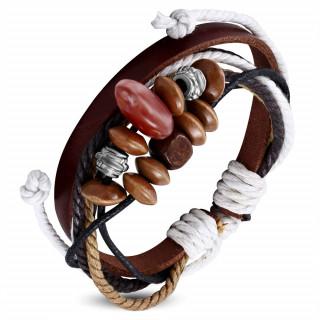 Bracelet ethnique cuir et cordes avec perles diverses