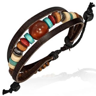Bracelet ethnique en cuir avec perles multicolores en enfilades