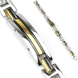 Bracelet gourmette homme en acier avec inserts noirs et dorés