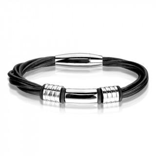 Bracelet homme à lanières similicuir noires et cylindres inox
