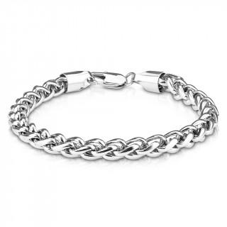 Bracelet homme à maille style spiga en acier