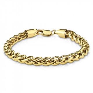 Bracelet homme à maille style spiga en acier doré