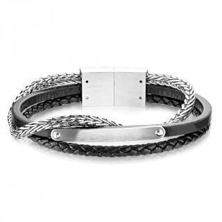 Bracelet homme à plaque, tresses de cuir et d'acier