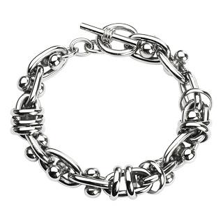 Bracelet homme acier à anneaux entre-croisés