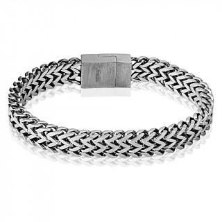 """Bracelet homme acier à maille en """"W"""" et fermeture magnetique"""
