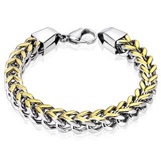 """Bracelet homme acier à mailles Duo en """"V"""""""