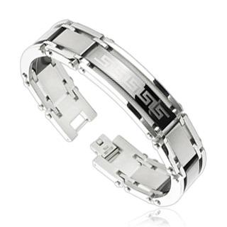 Bracelet homme acier avec bande noire à frise labyrinthe