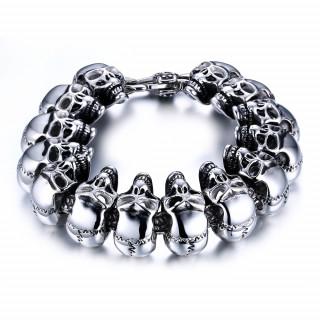 Bracelet homme acier Biker Skull Chain