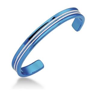 vente bracelet homme acier bleu lignes parall les. Black Bedroom Furniture Sets. Home Design Ideas