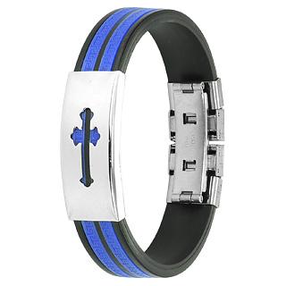 Bracelet homme acier croix et vagues stylisées