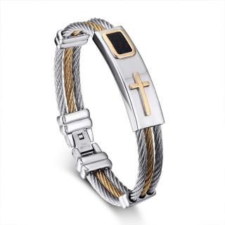 Bracelet homme acier à filins avec plaque à croix et insert cuir