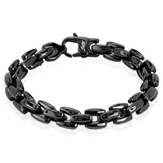 Bracelet homme acier noir à mailles carrées