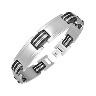 Bracelet homme acier plaques et lamelles