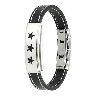 Bracelet homme acier Trois étoiles